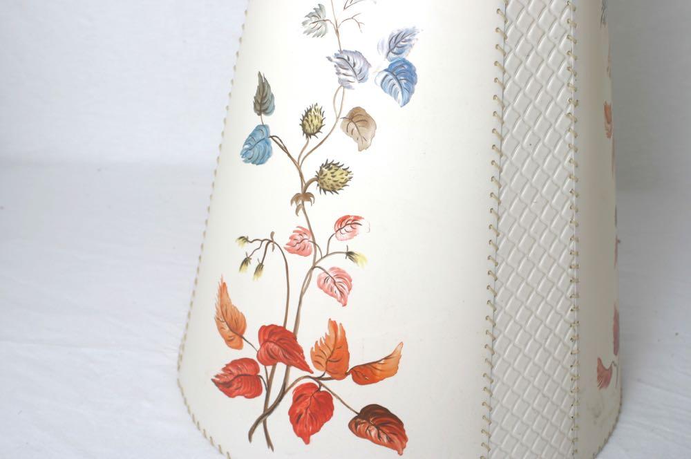 lampenschirm f r 50er 60er jahre stehlampe t tenform handgemalter dekor. Black Bedroom Furniture Sets. Home Design Ideas