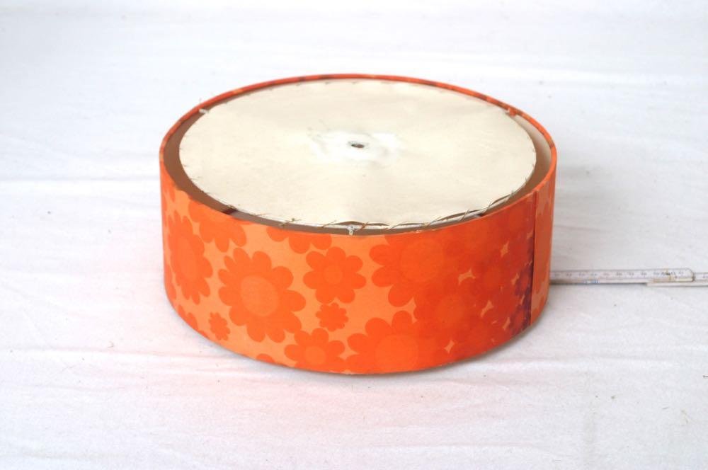 lampenschirm f r stehlampe tischlampe 60er bis 70er jahre rund orange pop art ebay. Black Bedroom Furniture Sets. Home Design Ideas